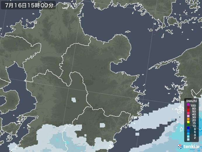 大分県の雨雲レーダー(2020年07月16日)