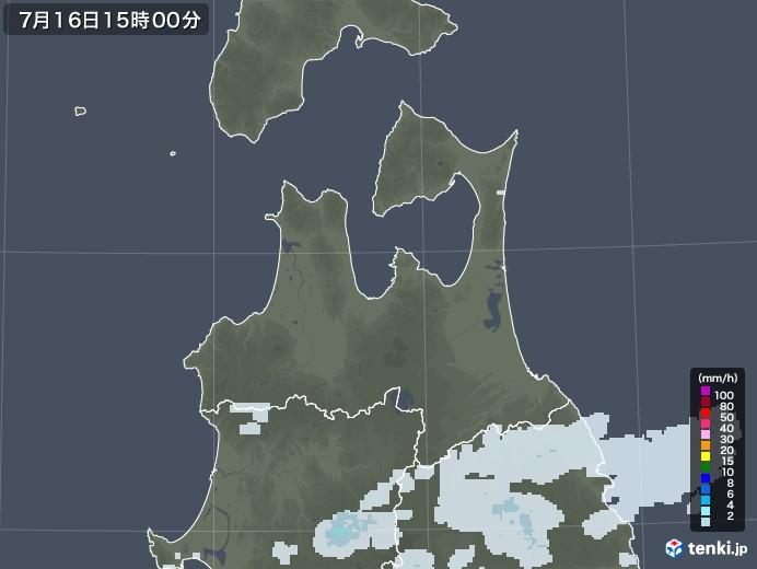 青森県の雨雲レーダー(2020年07月16日)