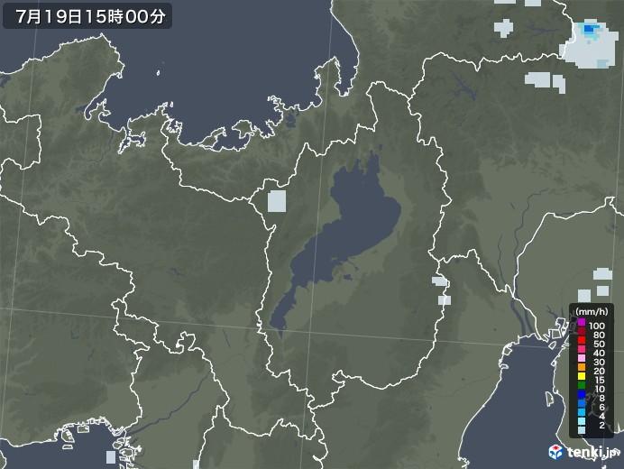 滋賀県の雨雲レーダー(2020年07月19日)