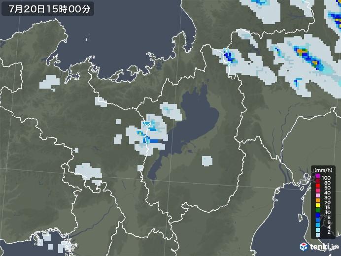 滋賀県の雨雲レーダー(2020年07月20日)