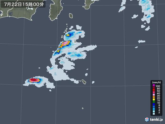 伊豆諸島(東京都)の雨雲レーダー(2020年07月22日)