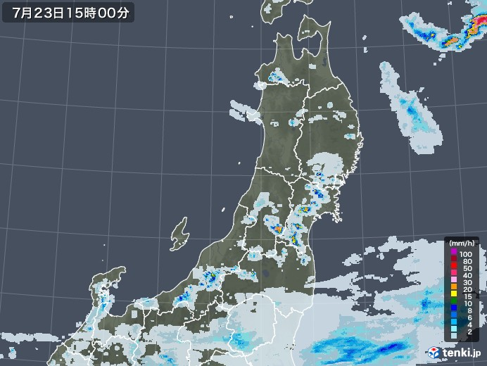 東北地方の雨雲レーダー(2020年07月23日)