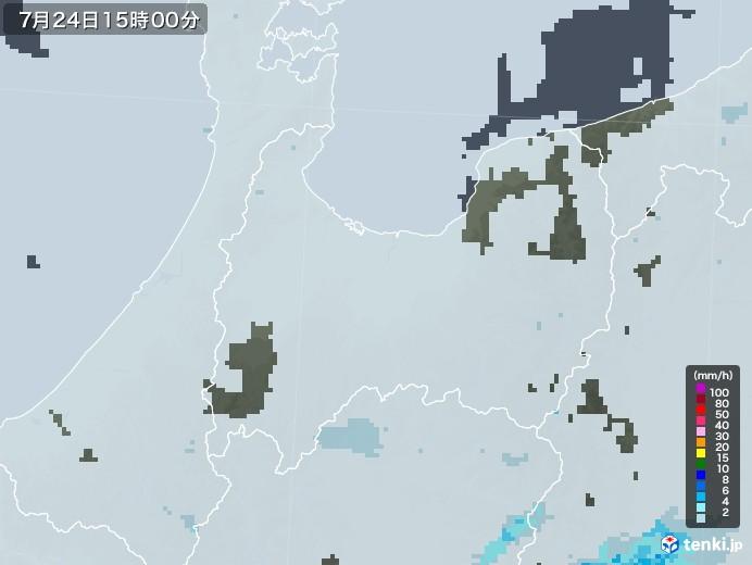富山県の雨雲レーダー(2020年07月24日)