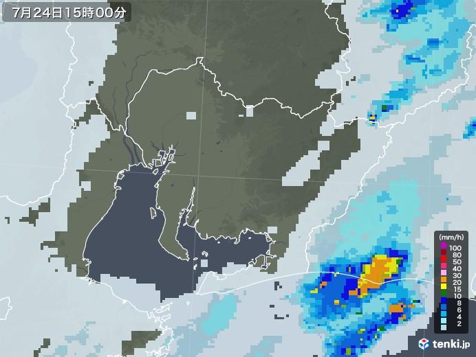 愛知県の雨雲レーダー(2020年07月24日)