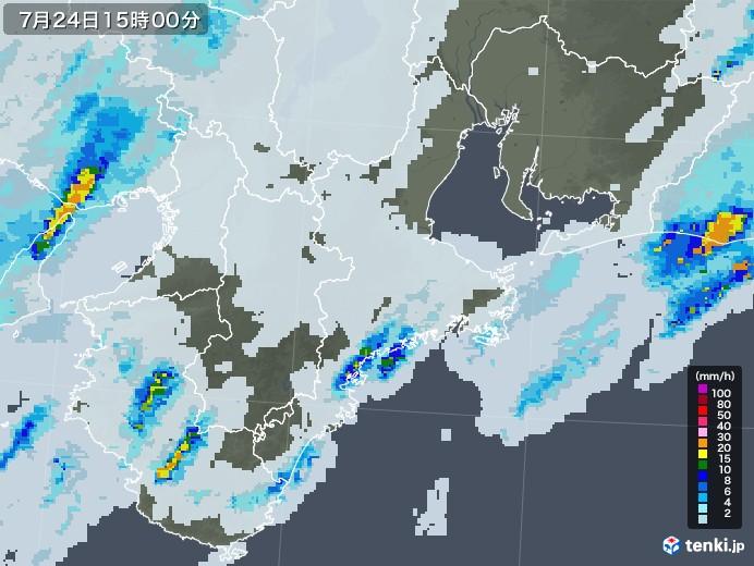 三重県の雨雲レーダー(2020年07月24日)