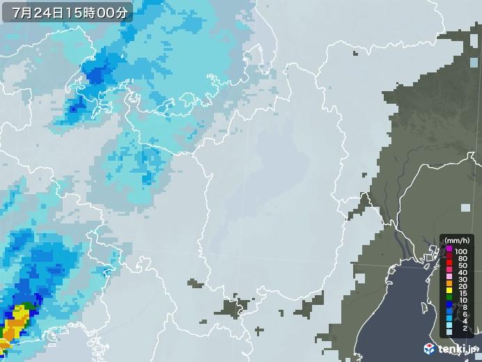 滋賀県の雨雲レーダー(2020年07月24日)
