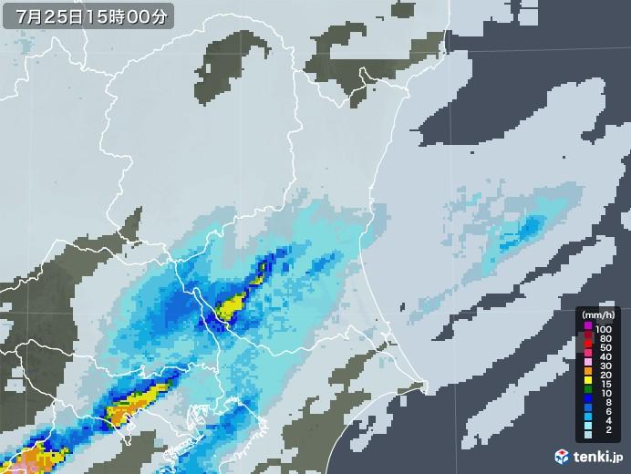 茨城県の雨雲レーダー(2020年07月25日)