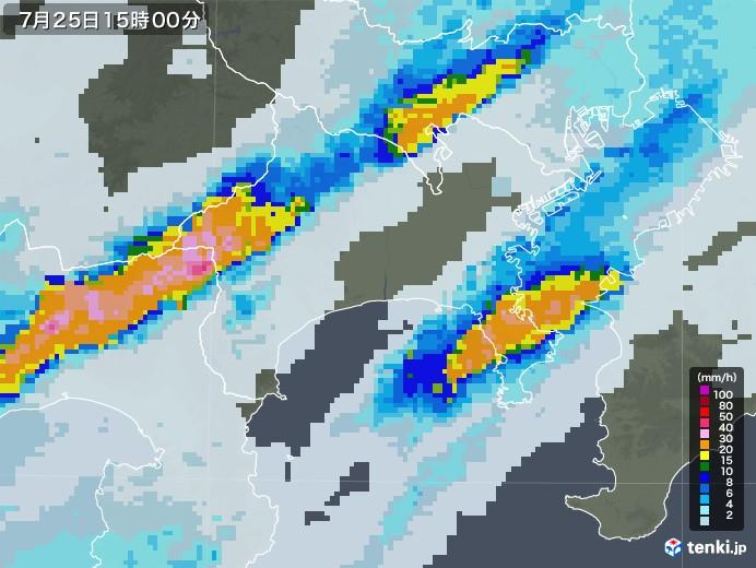 神奈川県の雨雲レーダー(2020年07月25日)