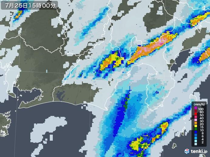 静岡県の雨雲レーダー(2020年07月25日)