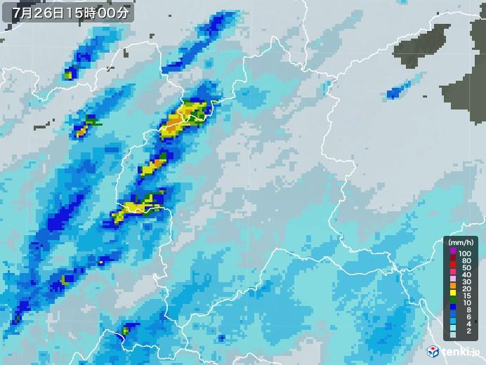 群馬県の雨雲レーダー(2020年07月26日)