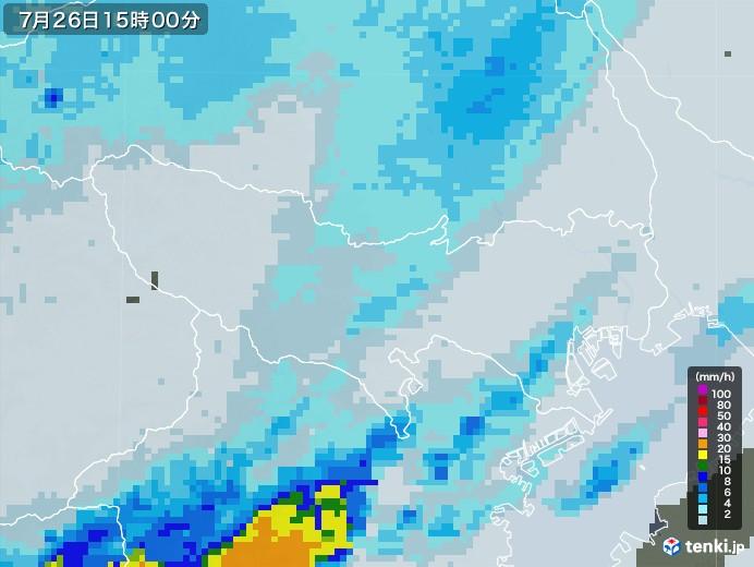 東京都の雨雲レーダー(2020年07月26日)