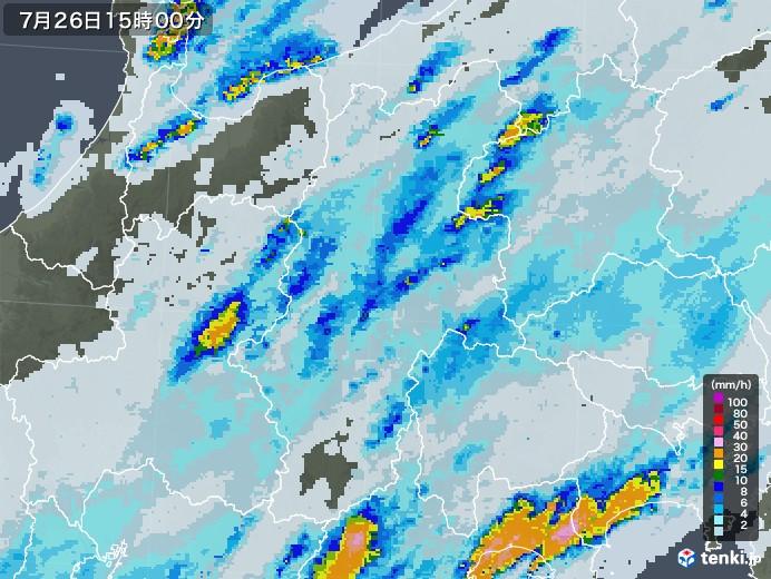長野県の雨雲レーダー(2020年07月26日)