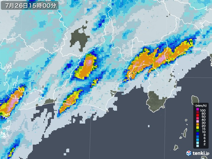 静岡県の雨雲レーダー(2020年07月26日)