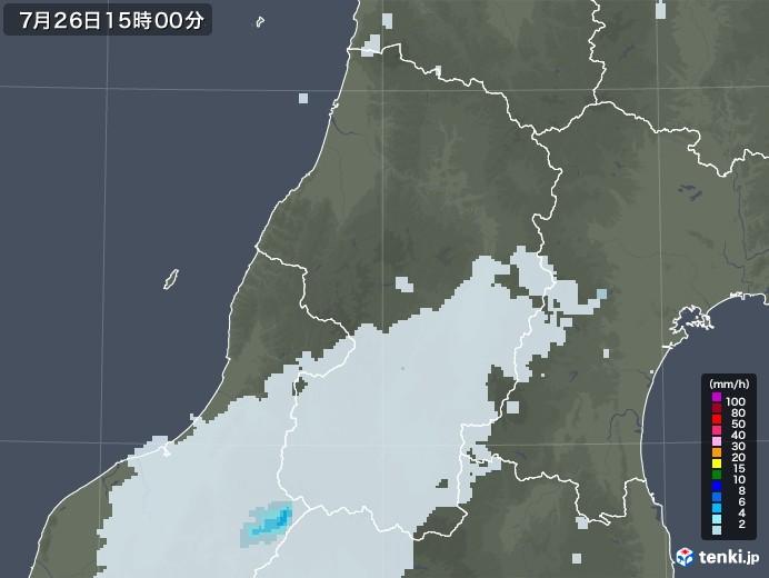 山形県の雨雲レーダー(2020年07月26日)