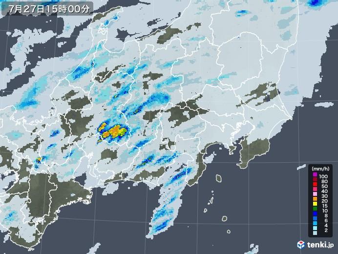 関東・甲信地方の雨雲レーダー(2020年07月27日)