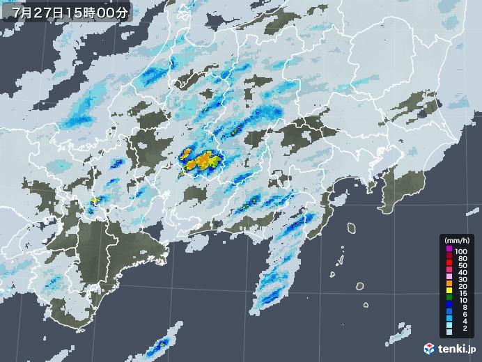 東海地方の雨雲レーダー(2020年07月27日)