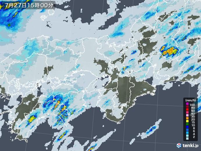 近畿地方の雨雲レーダー(2020年07月27日)