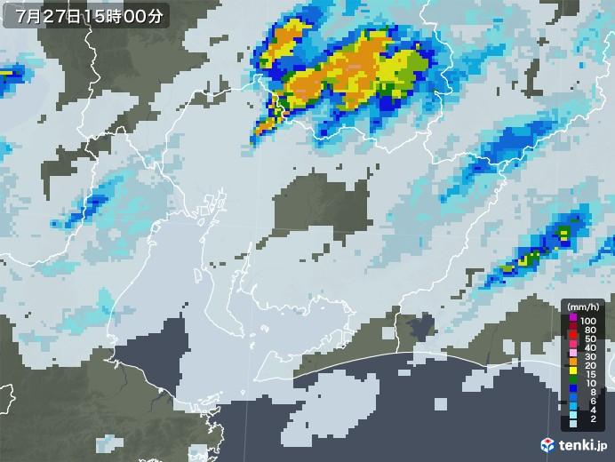 愛知県の雨雲レーダー(2020年07月27日)