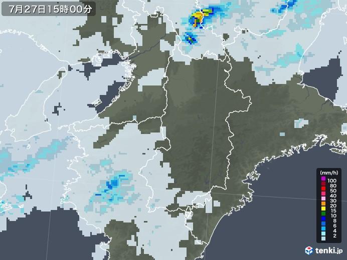 奈良県の雨雲レーダー(2020年07月27日)