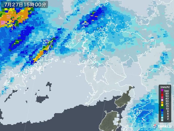 長崎県の雨雲レーダー(2020年07月27日)