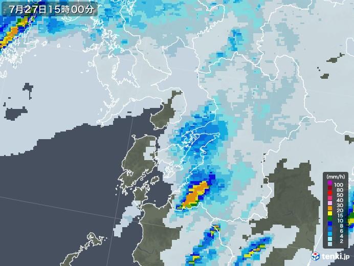 熊本県の雨雲レーダー(2020年07月27日)
