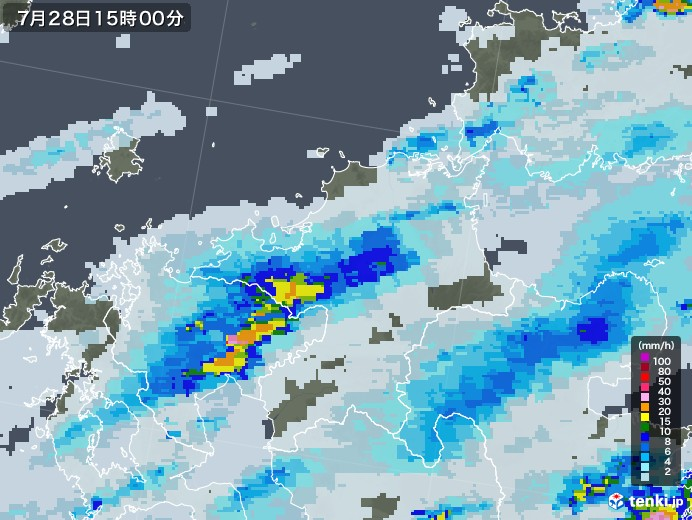 福岡県の雨雲レーダー(2020年07月28日)