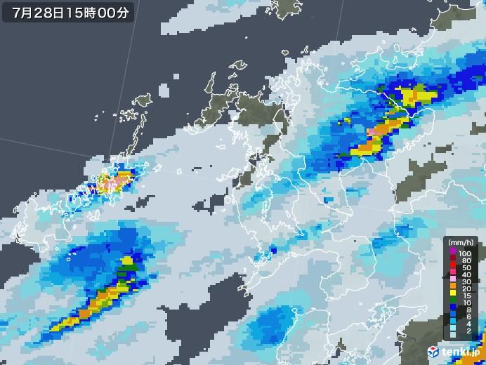 長崎県の雨雲レーダー(2020年07月28日)