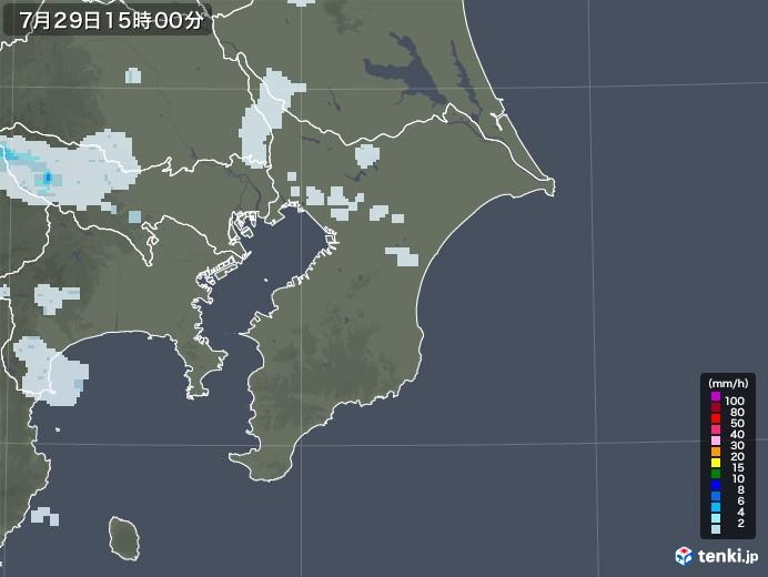千葉県の雨雲レーダー(2020年07月29日)