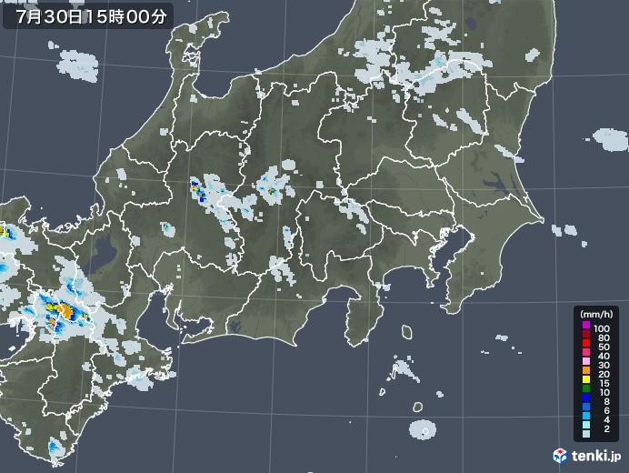 関東・甲信地方の雨雲レーダー(2020年07月30日)