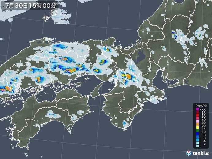 近畿地方の雨雲レーダー(2020年07月30日)