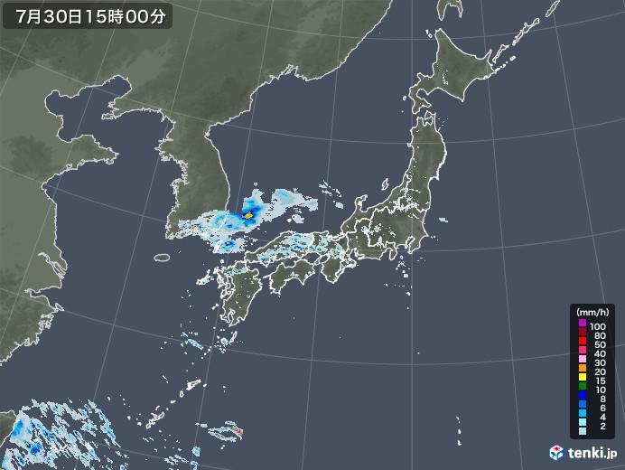 雨雲レーダー(2020年07月30日)