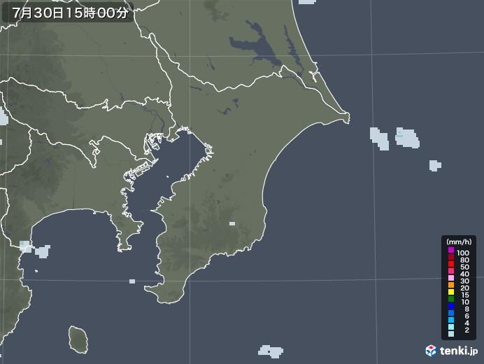 千葉県の雨雲レーダー(2020年07月30日)