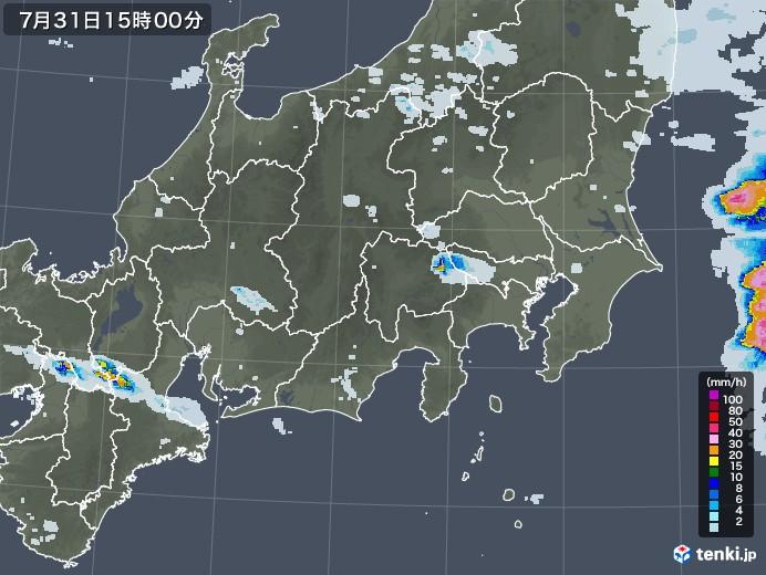 関東・甲信地方の雨雲レーダー(2020年07月31日)