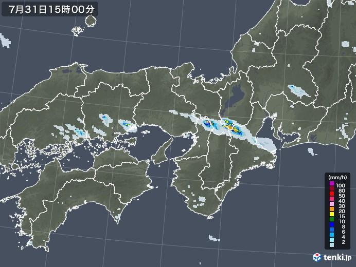 近畿地方の雨雲レーダー(2020年07月31日)