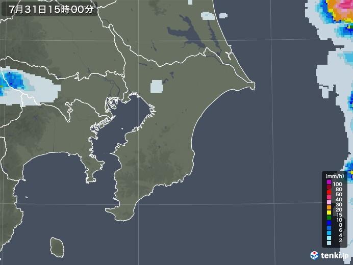 千葉県の雨雲レーダー(2020年07月31日)