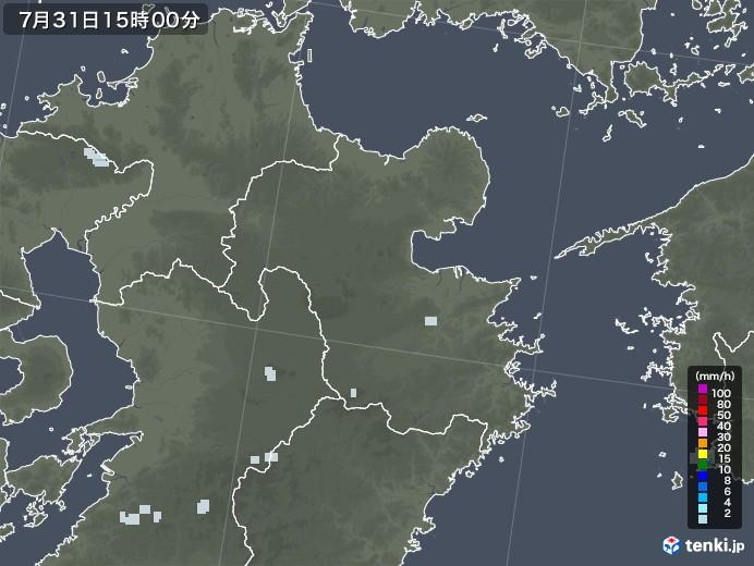 大分県の雨雲レーダー(2020年07月31日)