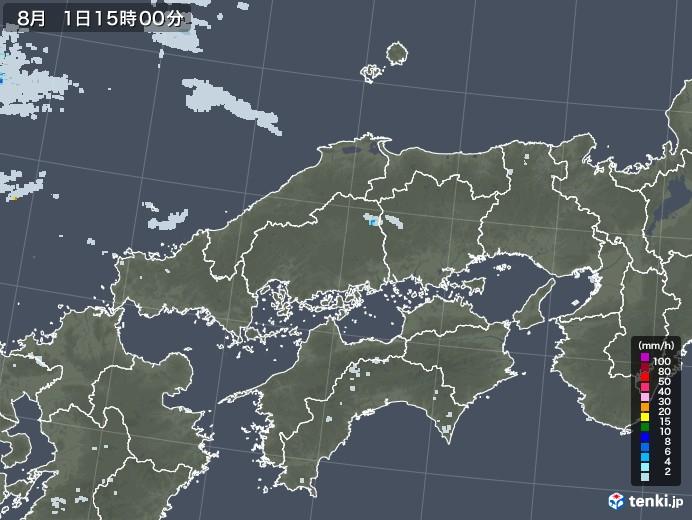 中国地方の雨雲レーダー(2020年08月01日)