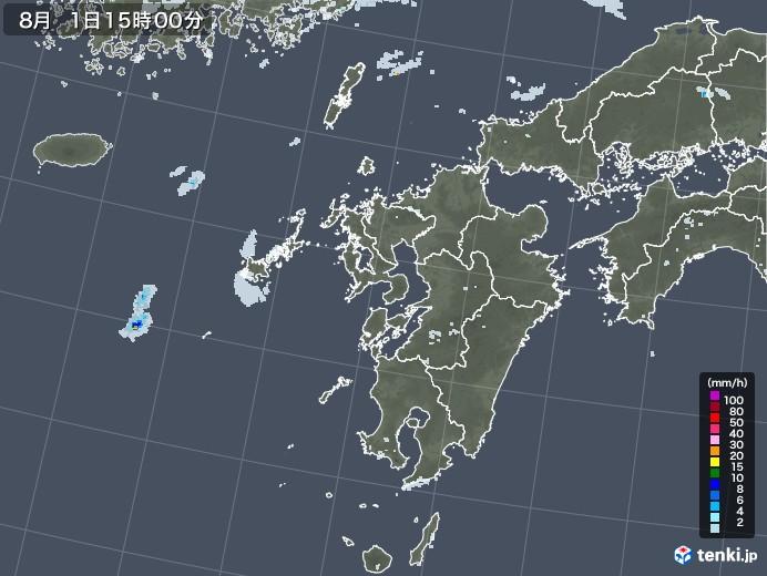 九州地方の雨雲レーダー(2020年08月01日)