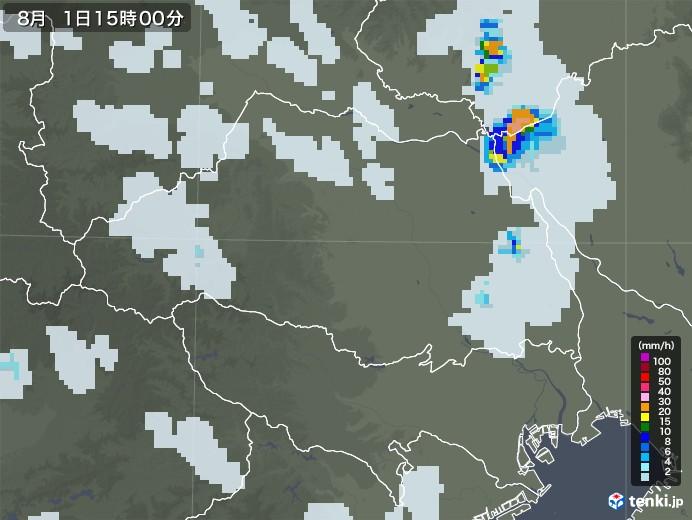 埼玉県の雨雲レーダー(2020年08月01日)