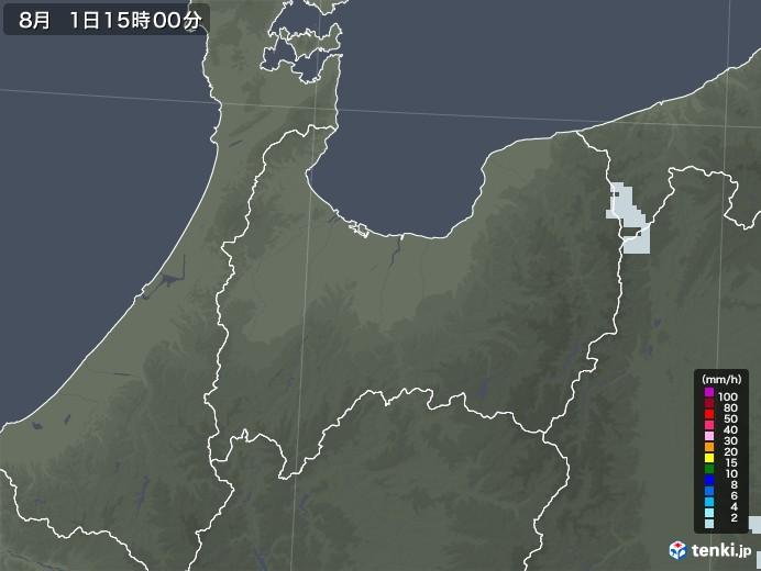 富山県の雨雲レーダー(2020年08月01日)