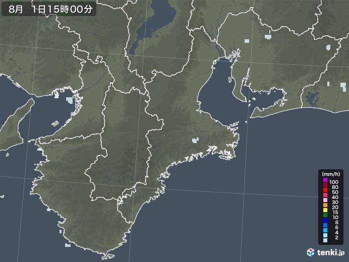 三重県の雨雲レーダー(2020年08月01日)
