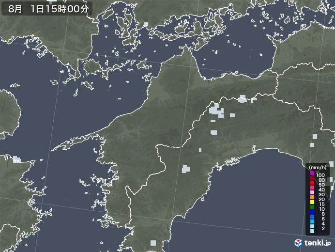 愛媛県の雨雲レーダー(2020年08月01日)