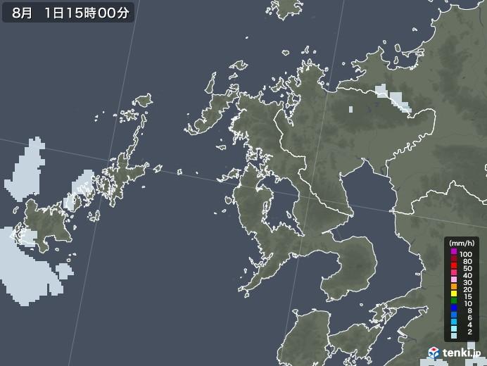 長崎県の雨雲レーダー(2020年08月01日)
