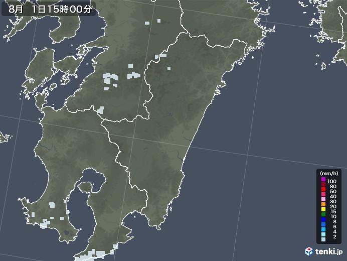 宮崎県の雨雲レーダー(2020年08月01日)