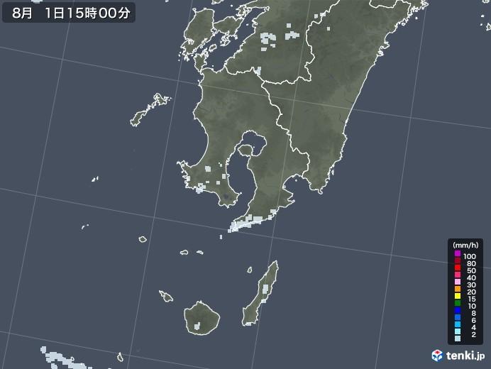 鹿児島県の雨雲レーダー(2020年08月01日)