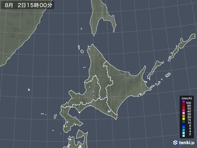 北海道地方の雨雲レーダー(2020年08月02日)