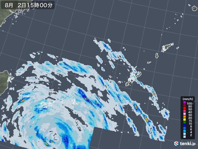 沖縄地方の雨雲レーダー(2020年08月02日)