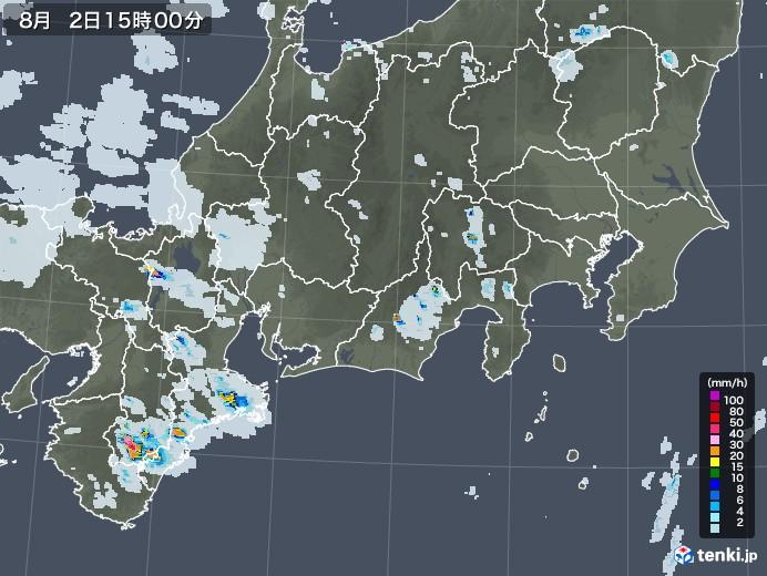 東海地方の雨雲レーダー(2020年08月02日)
