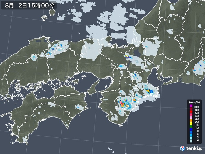 近畿地方の雨雲レーダー(2020年08月02日)