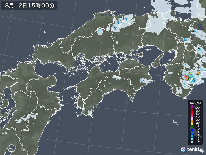 四国地方の雨雲レーダー(2020年08月02日)